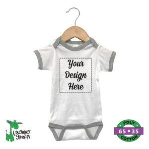 Baby Ringer Bodysuits - White with Gray Trim - 65% Polyester / 35% Cotton - The Laughing Giraffe®