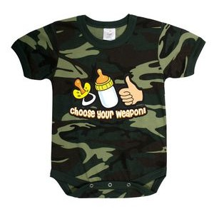 Infant Woodland Camo 'Choose Your Weapon' One Piece Body Suit